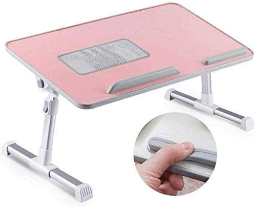 Laptop Bed Table Adjustable Lap Desk Foldable Breakfast Tray Portable Notebook Stand Reading Holder with USB Fan-Black-Pink