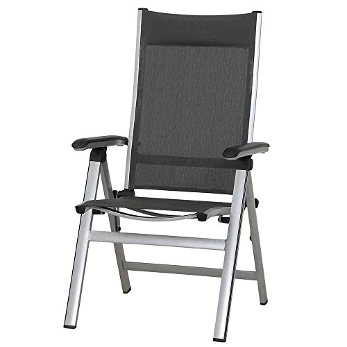 MWH Stuhl Core Aluminium Klappsessel mit Textilene, dunkelgrau/grau/silber/schwarz