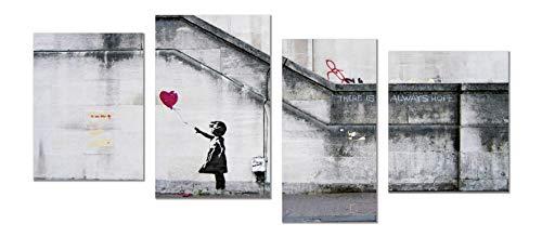 Panorama Cuadro de Aluminio Banksy Niña Globo 73 x 40 cm 4 Piezas - Impreso en Aluminio Dibond Blanco Cuadros Modernos Banksy - Cuadros Decoración Salón - Cuadros Dormitorio