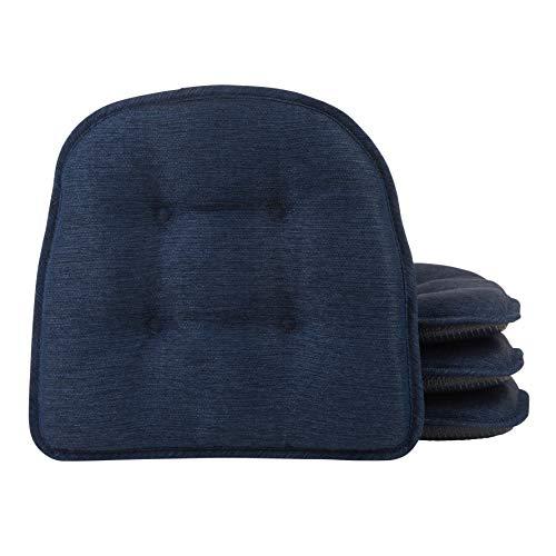 Almofada para cadeira de jantar Klear Vu Omega Gripper tufada segura para móveis antiderrapante, Pacote com 4, Indigo, 4 Pack, 1