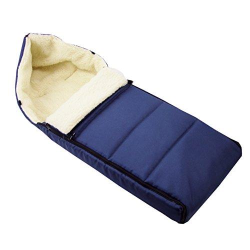 BAMBINIWELT universaler Winterfußsack (90cm), auch geeignet für Babyschale, Kinderwagen, Buggy, aus Wolle UNI liniert MARINEBLAU