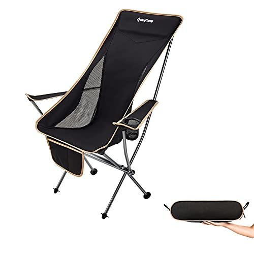 KingCamp Alu Klappstuhl Camping Angel Strand Stuhl Faltbar Hoch Leicht 120 kg