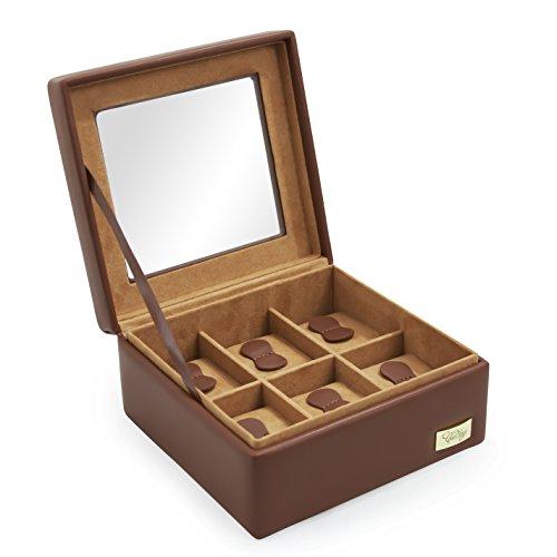 CORDAYS - Estuche Relojero para 6 Relojes con Vitrina de Cristal Hecho a Mano en Color Cognac CDL-10002