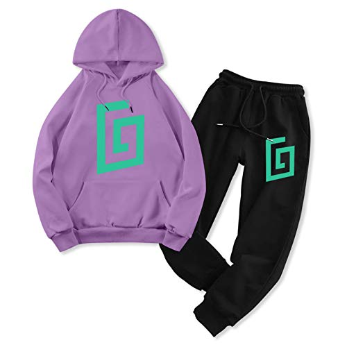 Karl Jacobs Adult Sport Outfits Fleece Hoody and Jogger Set for Mens Damen 2 Pcs Clothes Vintage Sweatsuit Set Purple and Black