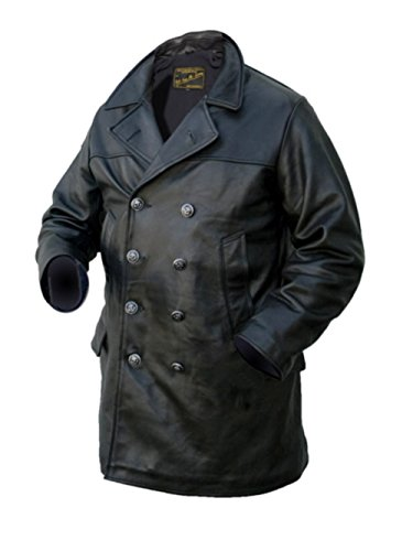 Noble House Herren U-Boot Marine Jacke Ledermantel (3XL)