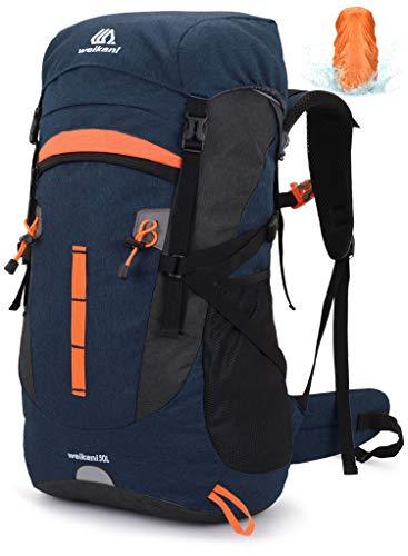 VEVESMUNDO 50L Hiking Backpack Men Women for Travel Mountaineering Climbing Camping Trekking (Blue)