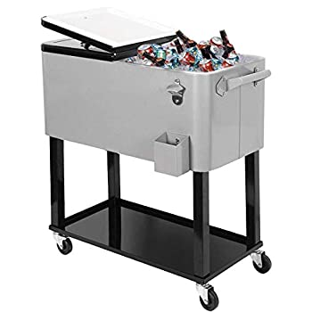 Clevr 80 Quart Qt Rolling Cooler Ice Chest for Outdoor Patio Deck Party Grey Portable Party Bar Cold Drink Beverage Cart Tub Backyard Cooler Trolley on Wheels with Shelf Stand & Bottle Opener