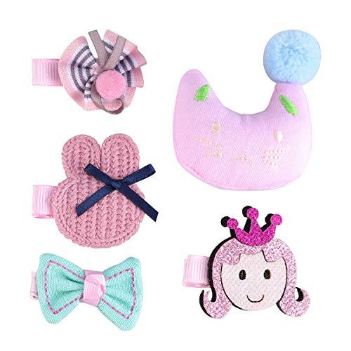 5pcs Cartoon Cloth Art Side Clip Fabrics Hairpin Hairclips Headdress Headwear for Children Kids (Cat)