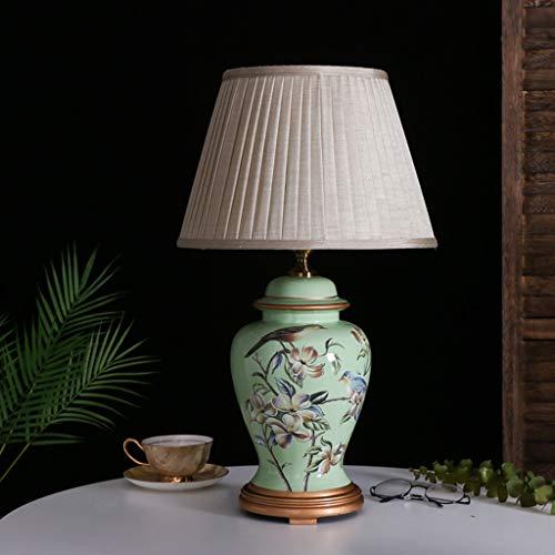 C-J-Xin Dekorative Lampen, Buchhandlung Bibliothek Energiesparlampe Plissee Lampshade Blume und Vogel-Muster Keramik Tischlampe E27 H: 56 cm Tischleuchte Innenbeleuchtung (Color : B1)