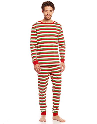 Leveret Mens Pajamas Fitted Striped Christmas 2 Piece Pjs Set 100% Cotton Sleep Pants (Red/Green/White, Large)
