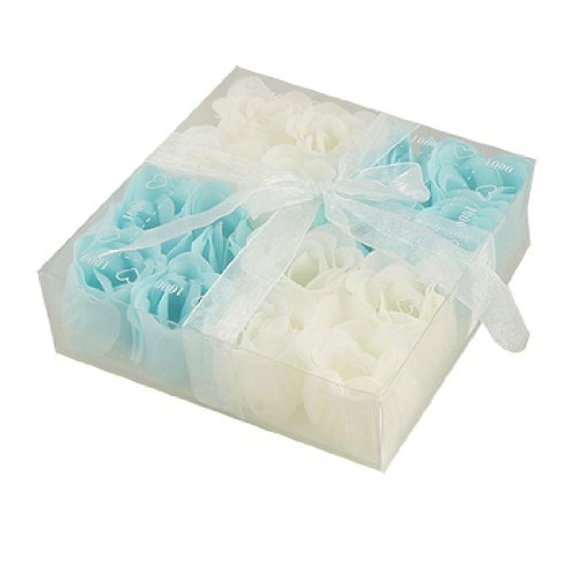 陽気な守る主観的DealMuxベイビーブルーホワイト16個の香りの入浴ソープローズペタルギフト
