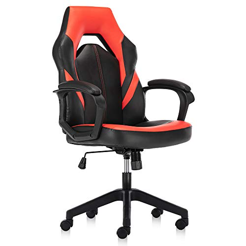 Gaming Chair, Racing Ergonomic Executive Computer Video Game Office Chairs Bonded Leather with Padding Armrest, Red