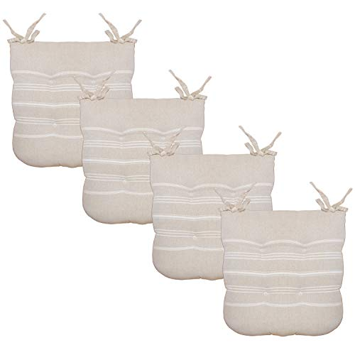 Chair Pad Cotton 16' x 16' Set of 4 Seat Cushion Comfortable Indoor Dining Living Room Durable Fabric (Beige)