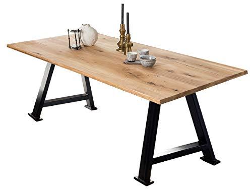 LaNatura Tables&Co - Tavolo 240 x 100 in rovere naturale, in metallo, colore: Nero