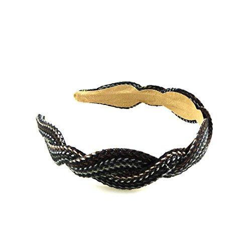 rougecaramel - Accessoires cheveux - Serre tête croisé tissu largeur 3.5cm - multi kaki marron
