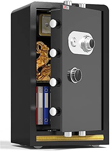 TOPNIU Caja de seguridad resistente al fuego y antirrobo, gran armario de seguridad para el hogar, 60 cm, caja de efectivo con bloqueo de código mecánico, se puede montar en la pared (color negro)