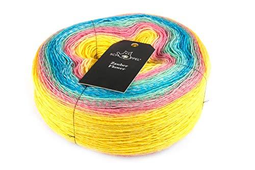 theofeel Schoppel Zauber Flower 150g Farbverlaufsgarn Merino Color 2357 Streiflichter, 600m Merinowolle mit Farbverlauf, Bobbel Merino