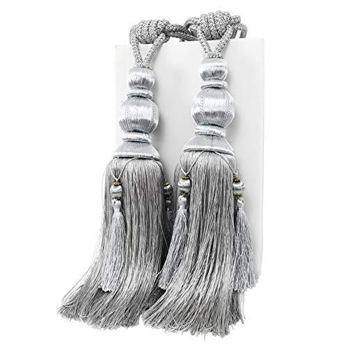 YunNasi - 1 par de alzapaños para cortinas, hechas a mano, borlas, alzapaños para decoración de la oficina en el hogar (gris)