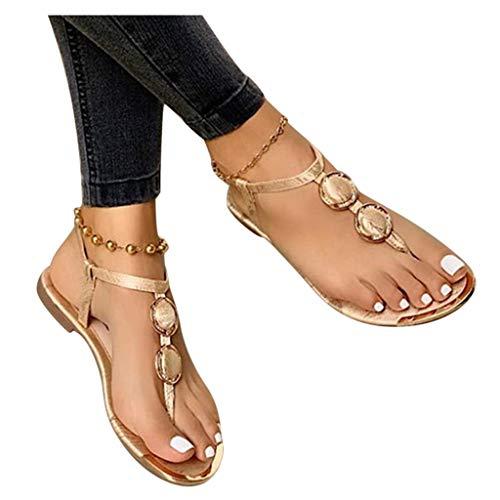 Siilsaa Sandalias para mujer Casual Verano Bohemio Flip Flops Open Toe Sandalias planas Zapatillas Romanas Zapatos de playa, 8.5, Blanco