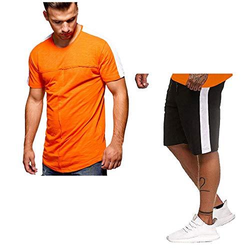 Conjunto de Chándal Corto Raya Hombre,Verano Dos Piezas Conjunto de Camiseta Manga y Pantalon Transpirable,Traje Deportivo de Cuello Redondo Ideal para Gym Correr Trotar Caminar