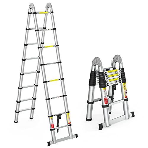 TFCFL Escalera telescópica de 5 m, plegable y actualizada, escalera con 2 ruedas, extensible, multifunción, de aluminio, capacidad de carga de 150 kg, altura plegable de 2,5 metros