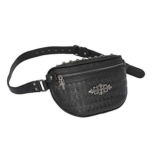Bolso de Cintura para Correr Moda de Cuero Remaches Paquete de la Cintura Hombro Messenger Bag Belt Bum Bag para Hombres y Mujeres (Color : Negro, tamaño : Un tamaño) (Cocina)