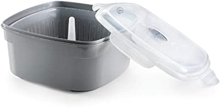 Microwave Vegetable Cooker & Steamer Bowl - with Snap On Side Lid - BPA Free - (1, grey steamer)