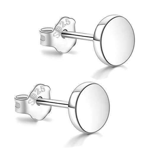 White Gold Plated Sterling Silver Dot Stud Earrings 3mm-8mm Options, Flat Round Disc Studs Hypoallergenic Jewellery (6mm)