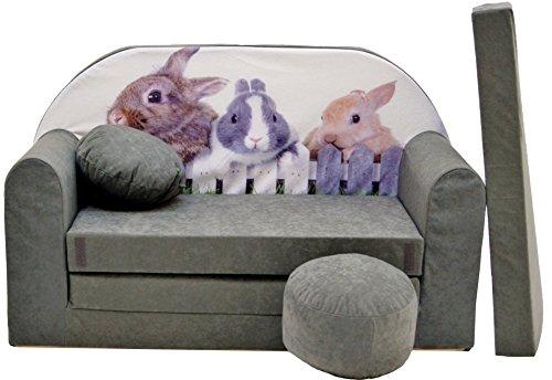 Pro Cosmo A25 Canapé-lit pour Enfant avec Pouf/Repose-Pieds/Oreiller, Tissu, Vert, 168 x 98 x 60 cm