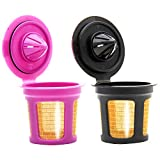Youngever 2 Pack 24K GOLD Reusable K Cups, Reusable K Cups Filters for 2.0 & 1.0 Brewers Universal Fit, Eco Friendly Reusable Refillable Single Cup Coffee Pod