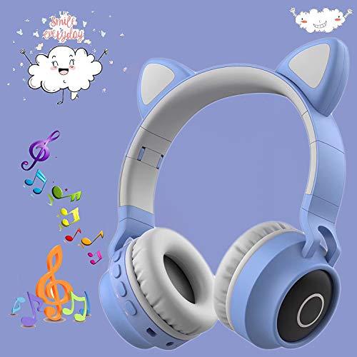 ネコ耳ヘッドフォン ブルートゥースイヤホン Bluetooth5.0 LED付き 猫耳ヘッドホン キラキラ 虹色変換 マイク内蔵 TFカード 柔らかい サイズ調節可能 子供用 大人用 折り畳み式 携帯便利 有線無線兼用 クリスマス/誕生日/入学式/新年プレゼント 知育・学習・音楽・語学勉強 包装が精巧で贈り物に適する。