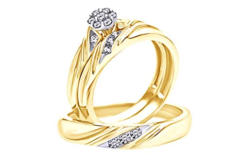 Anillo de boda de diamantes naturales blancos en oro de 9 quilates (0,38 quilates), Diamond,