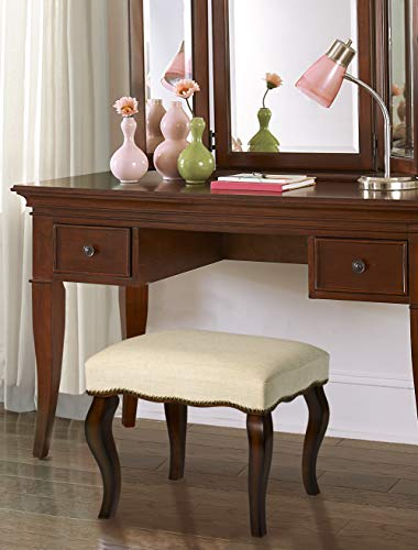 Hillsdale Furniture Hamilton Backless Vanity Stool, Burnished Oak Wood and Ivory Upholstery with Nail Head Trim