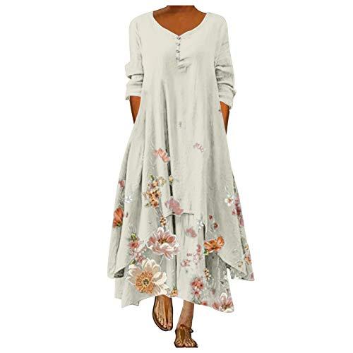 aihihe Bohemian Dresses for Women Long Sleeve Crew Neck Floral Print Boho Dress Loose Cotton Linen Long Dresses White