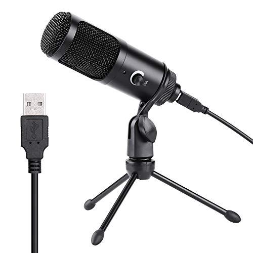 USB Mikrofon, AGPtEK Professionelles 192KHZ/24BIT Kondensatormikrofon mit Schreibtisch Stativ für Gesangsaufnahme, Voiceover, Spielaufnahmen und Streams, Geeignet für Laptop, PC, MAC oder Windows