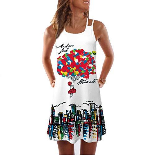 Darringls_Vestido Cortos Mujer,Verano de Playa Vestido Corto sin Mangas con Estampado Floral en 3D Bohe Vestidos sin Tirantes Casual Tank de Verano Mujer Lindo-Globo de Aire Caliente