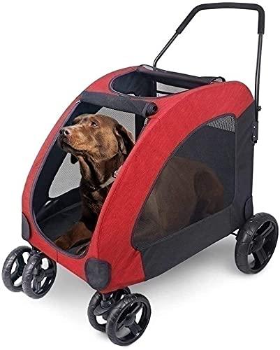 Yokbeer Cochecito para Perros - Capacidad de Carga de 60 Kg Cochecito para Mascotas de Viaje - Carro Plegable para Mascotas de 4 Ruedas para Viajes y Excursiones (Color : Red)