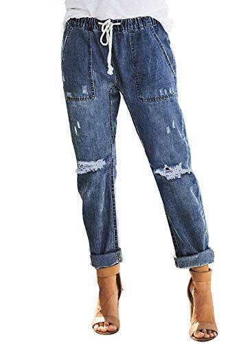Uusollecy Damen Boyfriend Lochjeans Elastischer Kordelzug Die Stylische Ripped Jeans Taschen Hoher Taille Gerades Hosen,A-dunkelblau, M
