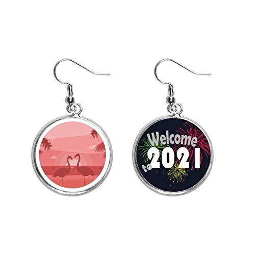 Flamingo pareja Rojo Dusk Art Deco Regalo Moda Oído Colgantes Pendientes Joyería 2021 Bendición
