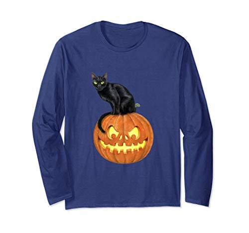黒猫ジャックオランタンかぼちゃデザイン不気味なハロウィン 長袖Tシャツ