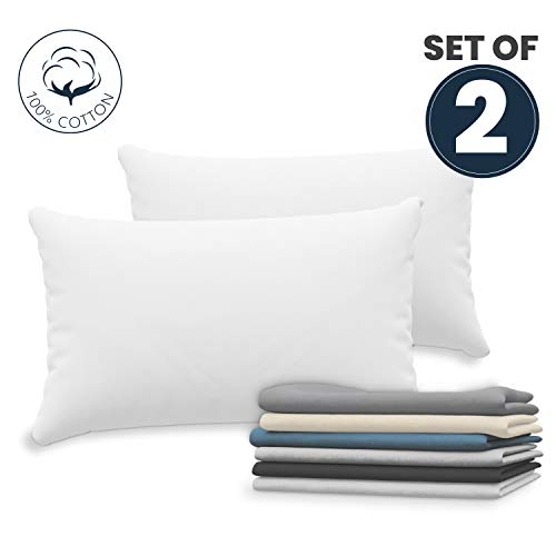 Dreamzie Set mit 2X Kissenbezüge 50x70 cm Weiß Baumwolle 100% Jersey Baumwolle - Kissenhülle 2er Pack 50x70 - Bettwäsche Doppelbett Kissenbezug - Kissen Schoner - Resistent und Hypoallergen