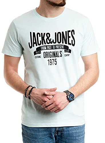 Jack and Jones Herren T-Shirt Männer Print Shirt Baumwolle Kurzarm (Bleached Aqua 019, XXL)