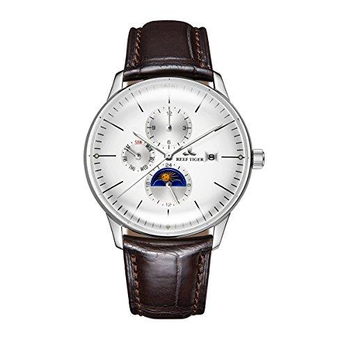 REEF TIGER Herren Uhr analog Automatik mit Leder Armband RGA1653-YWS