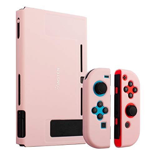 Insten Dockable Case Compatible with Nintendo Switch, Protective Hard Case Cover Compatible with Nintendo Switch Console and Joycon Controllers, Cherry Pink