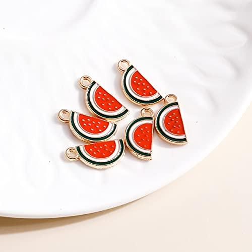 YEZINB 10 Uds 8 * 17mm encantos de sandía esmaltados para Pendientes, Colgantes, Collares, fabricación de Mini encantos de Frutas, Accesorios de joyería Hechos a Mano DIY