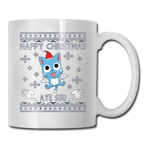 Happy Fairy Tail Aye Sir Christmas Knit Novedad Taza de cerámica White Coffee Mug 11oz