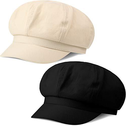 2 Pieces Summer Newsboy Cap Adjustable Visor Beret Hats Soft 8 Panels Vintage Cabbie Hat Octagonal Cap for Women Girls (Black and Beige)
