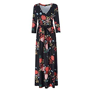 Zattcas Womens 3/4 Sleeve Floral Print Faux Wrap Long Maxi Dress with Belt