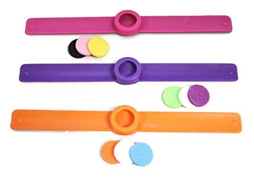 Destination Oils Kids Essential Oil Diffuser 3 Slap Bracelet Sweet Set - Pink, Orange, Purple- Girls- Safe for Children