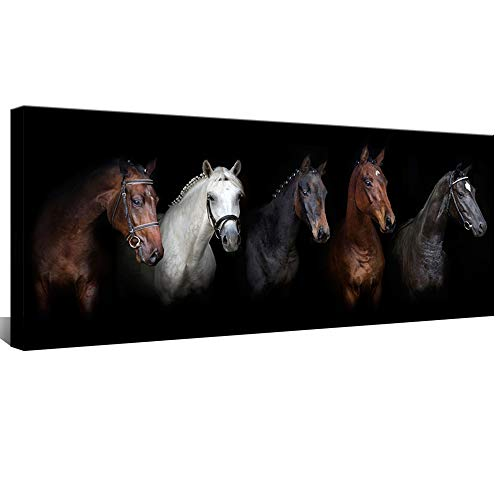 Large Animal Canvas Wall Art Black and White Horse Picture Prints Inspirational Horses Wall Decor Living Room Modern Artwork Home Decoration Framed Ready to Hang 20 x48